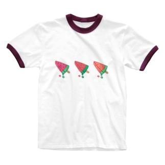 スイカのアイス Ringer T-shirts