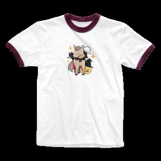 はずれ馬券屋の馬イラスト397 馬たちとハロウィン 白 Ringer T-shirts