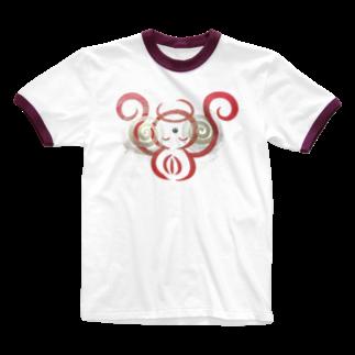 🍀森葉子グッズ🍀のお守り絵「ほっとけさん」透過4 Ringer T-shirts