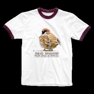 aliveONLINE SUZURI店の東京すずめ(おチリ) Ringer T-shirts