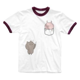 ラブカップルポケット♡うさぎ Ringer T-shirts