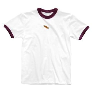 刺繍風ちくわ Ringer T-shirts