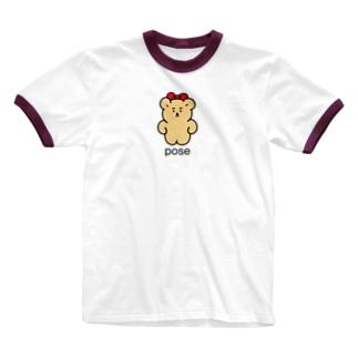ポージング Ringer T-shirts