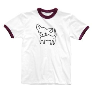 akane_artのゆるチワワ(クリア) Ringer T-shirts