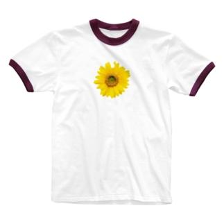 バッタにかじられちゃった向日葵 Ringer T-shirts