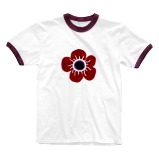 ManaOsawaのアネモネ北欧デザイン Ringer T-shirts