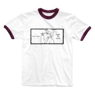 -ウマクナリタイ-キャスケット女子 黒 Ringer T-shirts