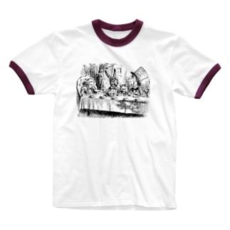 不思議の国のアリス A Mad Tea-Party Ringer T-shirts