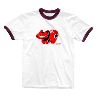 たいくつ堂【赤べこ】 Ringer T-shirts