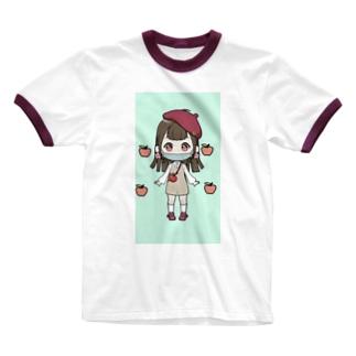 青リンゴちゃん(みかんが好き!) Ringer T-Shirt