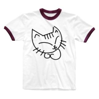 しろねこのミケコ。 Ringer T-shirts
