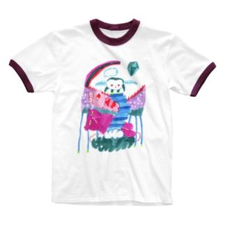 飛べない Ringer T-shirts