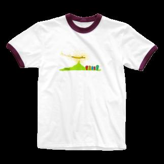 むきむき   地球生活のやまのぼり Ringer T-shirts