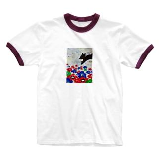 花とくろいぬ Ringer T-shirts
