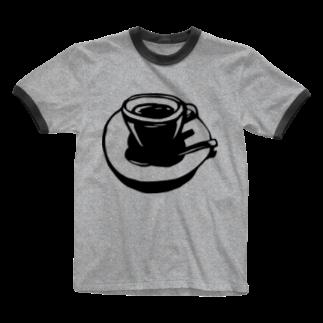 切り絵  草太のcoffee break Ringer T-shirts