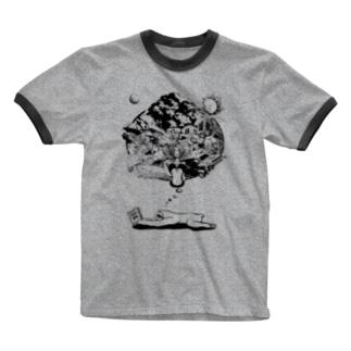 なまけものの夢 モノクロ Ringer T-Shirt