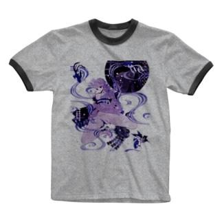 和柄 青の金魚姫3 藤紫 キモノガール Ringer T-shirts