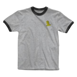 ドット恐竜 1匹 黄色 イエロー Ringer T-shirts