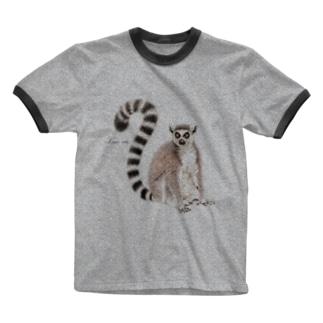 ワオキツネザル Ringer T-shirts