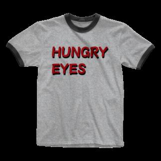アメリカンベースのHUNGRY EYES Ringer T-shirts