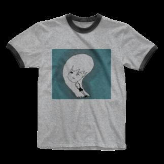 水草のナウ・ガール47 Ringer T-shirts
