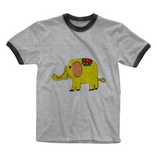 kotoのお店(*´︶`*)のしあわせの黄色いぞう Ringer T-shirts