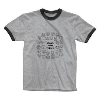 Heart nose DOGS(丸型) Ringer T-shirts