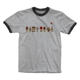 家並みと赤い鳥  Ringer T-shirts