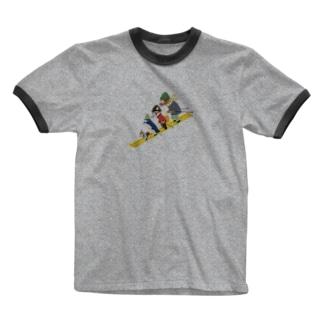 動物スキー Ringer T-shirts