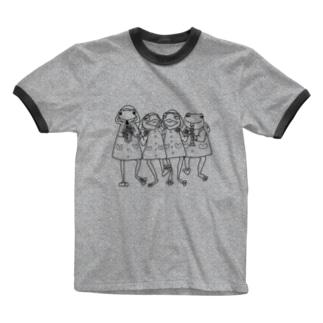 ゲコ下校音楽隊(黒線) Ringer T-shirts