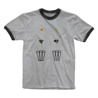 カマキリの昼と夜の複眼(絵文字、背景透過ver) Ringer T-Shirt