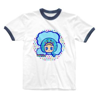 水島ちゃん Ringer T-shirts