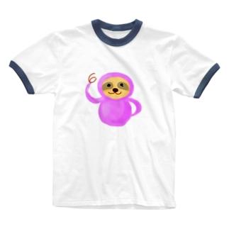 おっけー!ピンクナマケモノ Ringer T-shirts