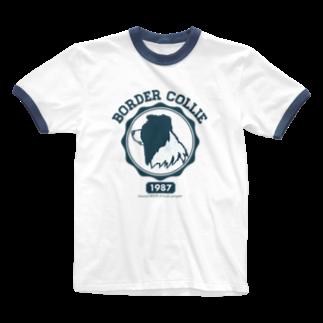 I.R.M.G.のボーダーコリー カレッジ風ロゴ Ringer T-shirts
