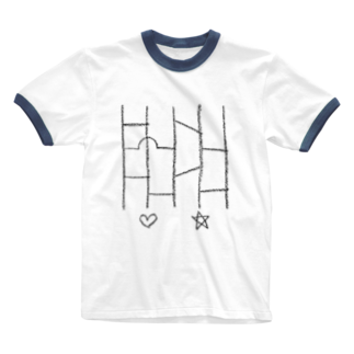 nobukoのアミダクジ Ringer T-shirts