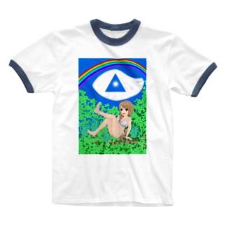 虹と空と森林浴 Ringer T-shirts