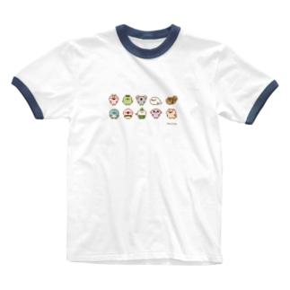 chackmoドットキャラグッズ(横) Ringer T-shirts