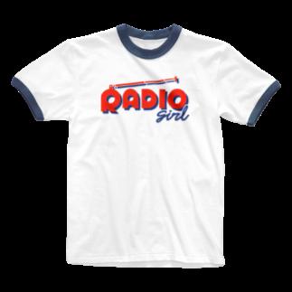 ねこぜもんのRADIO girl Ringer T-shirts