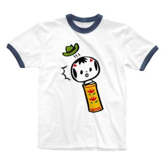 めんこいこけし(びっくり Ringer T-shirts