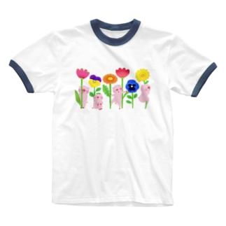 ブタとお花 Ringer T-shirts