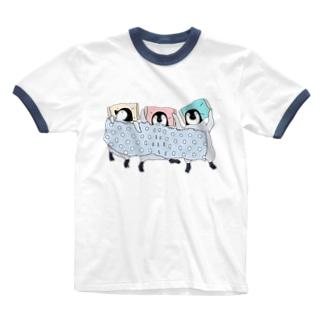 3羽でスヤァ Ringer T-shirts