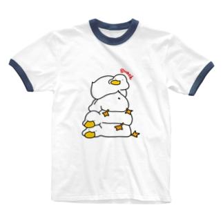 4段積みあひるくん Ringer T-shirts