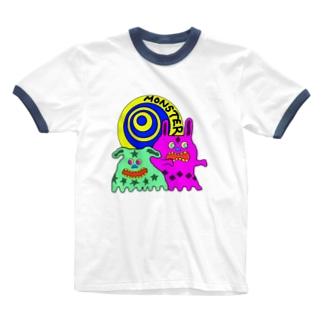 モンスター(いぬ&うさぎ) Ringer T-shirts
