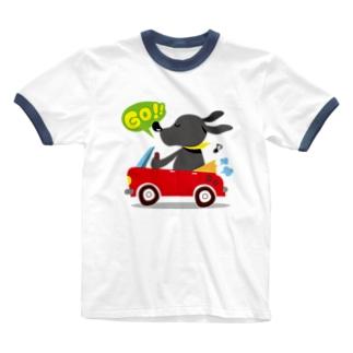 黒ラブしんちゃん Ringer T-shirts