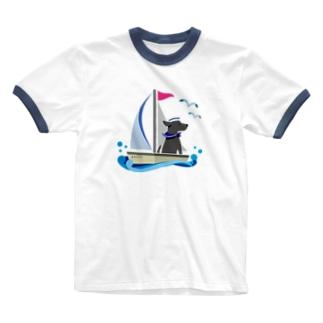 黒ラブ船長 Ringer T-shirts