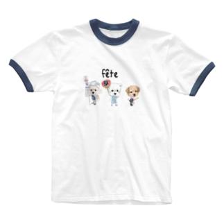 お祭りワンコ Ringer T-shirts
