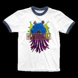 ICHITA_GAHAKUのHANEKURAGE2 Ringer T-shirts