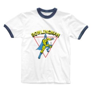 ボーリングマン アメコミヒーロー風 Ringer T-shirts