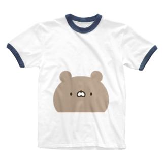 かわいいクマさん顔 Ringer T-shirts