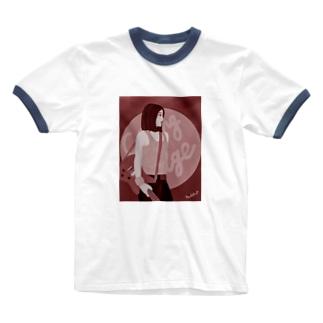ハードロッカー バーガンディ Ringer T-shirts